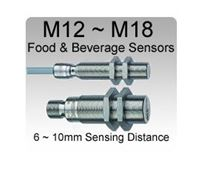 Picture for category M12~M18 IP68 / IP69K Food & Beverage Inductive Proximity Sensors