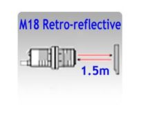 Picture for category M18 Tubular Body Retro-reflective Photoelectric Sensors, 1.5m Sensing Range