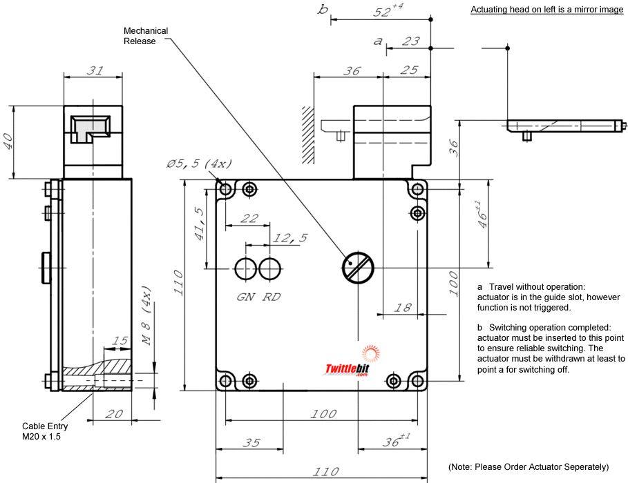 TZ1RE024M, TZ1 Solenoid Interlock Gate Switch with Mechanical Guard Locking