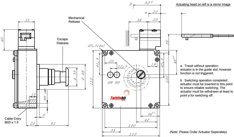 TZ1LE024MVAB-C1828, TZ1 Solenoid Interlock Gate Switch with Mechanical Guard Locking