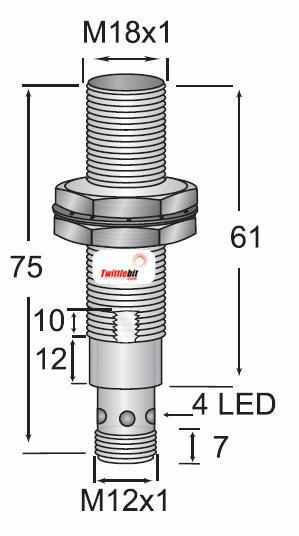 OCN11808NBRL4, M18 DC 3 wire NPN Shielded OEM Value Line Inductive Proximity Sensors