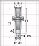FCM11805CARU4, M18 AC/DC 2 wire Inductive Proximity Sensors