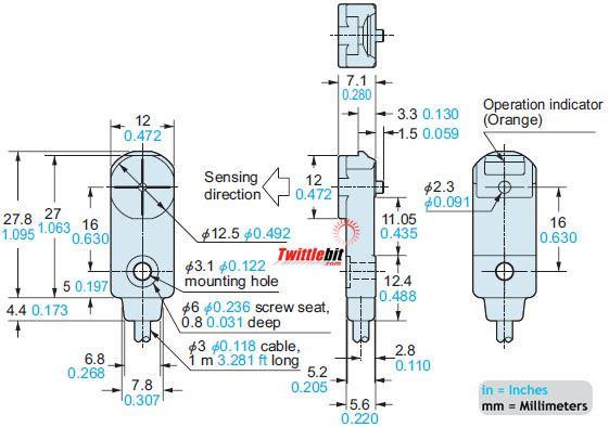 GX-F12B, DC 3 wire NPN Rectangular type Inductive Proximity Sensors