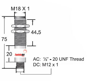M18B-T015MD-EX9Q4LE, M18 Tubular Body Thru-beam Photoelectric Sensors, 15m Sensing Range