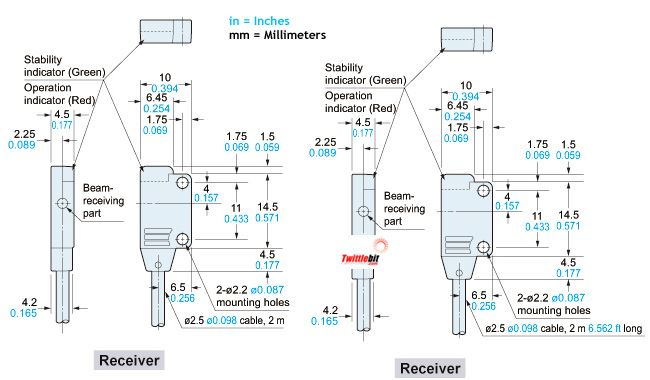 EX11EBPN, Side Sensing, PNP Thru-beam Photoelectric Sensors