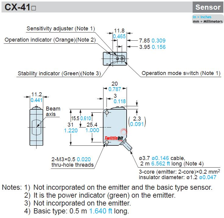 CX411, 11.2x31x20mm World Standard Thru-beam Photoelectric Sensors