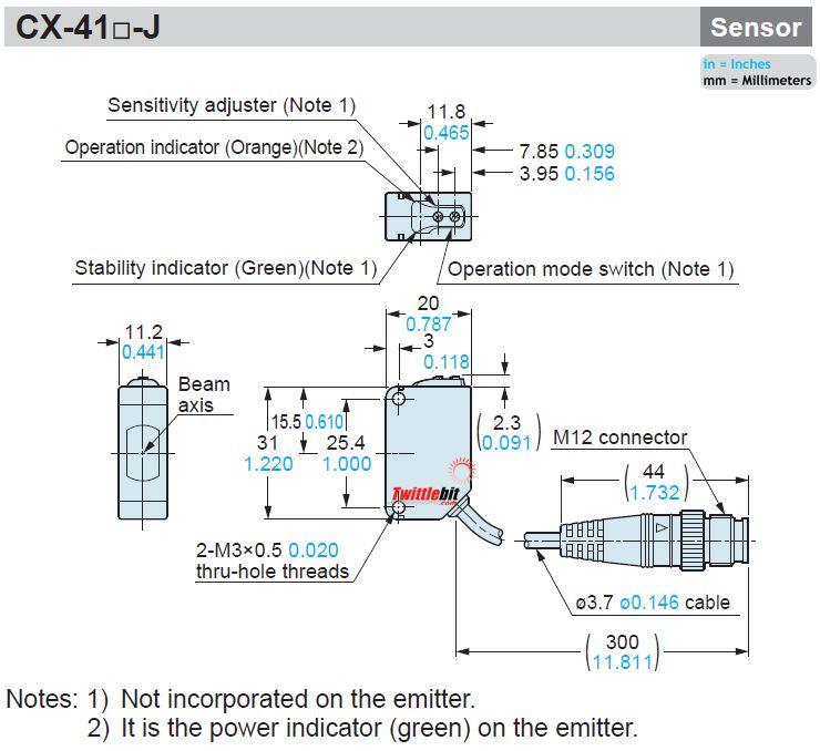 CX411J, 11.2x31x20mm World Standard Thru-beam Photoelectric Sensors