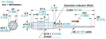 CY29, M18 Tubular Body Retro-reflective Photoelectric Sensors, 1.5m Sensing Range