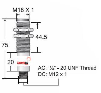 M18BL1000PCX6Q4UEPF, M18 Tubular Body Retro-reflective Photoelectric Sensors, 1.5m Sensing Range