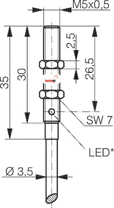 LTK1050303506, M5 Mini Tubular Diffuse without Background Suppression Photoelectric Sensors