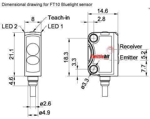 FT10-BF2-PS-K4, Cubical 22x15x8mm Miniature Diffuse with Background Suppression Photoelectric Sensors