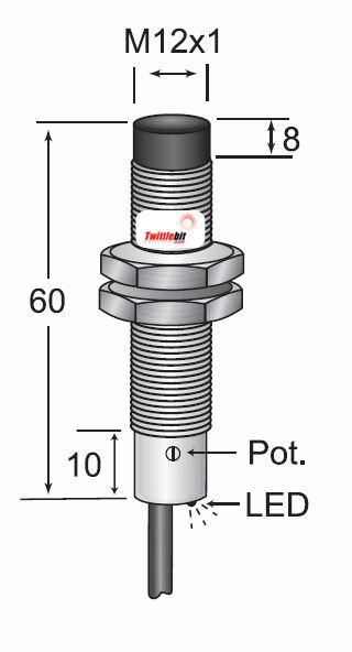 CCM21208PB3U2, Unshielded DC 3 wire PNP M12 Capacitive Proximity Sensors, Adjustable 1 ~ 8mm Sensing Distance
