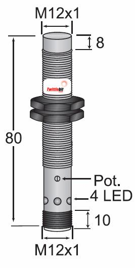 CCP21208PARU4, Unshielded DC 3 wire PNP M12 Capacitive Proximity Sensors, Adjustable 1 ~ 8mm Sensing Distance