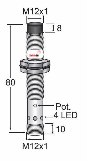 CCM21208NBRU4, Unshielded DC 3 wire NPN M12 Capacitive Proximity Sensors, Adjustable 1 ~ 8mm Sensing Distance