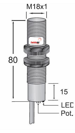 CCP11808PB3U2, Pre-wired, Shielded DC 3 ~ 4 wire PNP M18 Capacitive Proximity Sensors
