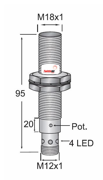 CCP11808PSRU4, Quick Disconnect, Shielded DC 3 ~ 4 wire PNP M18 Capacitive Proximity Sensors