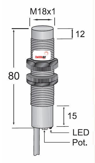 CCP21815PB3U2, Pre-wired, Unshielded DC 3 ~ 4 wire PNP M18 Capacitive Proximity Sensors