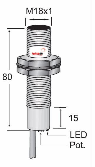CCM11808NB3U2, Pre-wired, Shielded DC 3 ~ 4 wire NPN M18 Capacitive Proximity Sensors