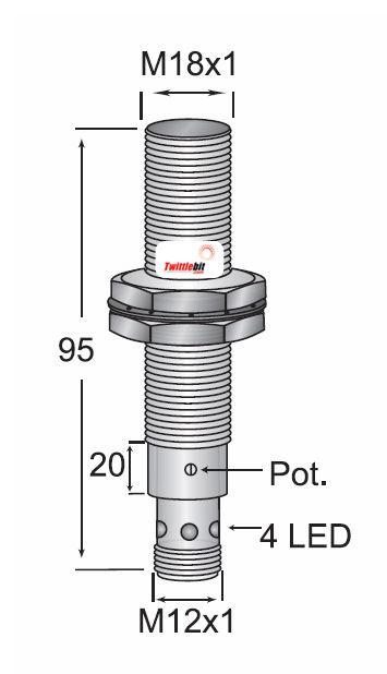 CCP11808NBRU4, Quick Disconnect, Shielded DC 3 ~ 4 wire NPN M18 Capacitive Proximity Sensors
