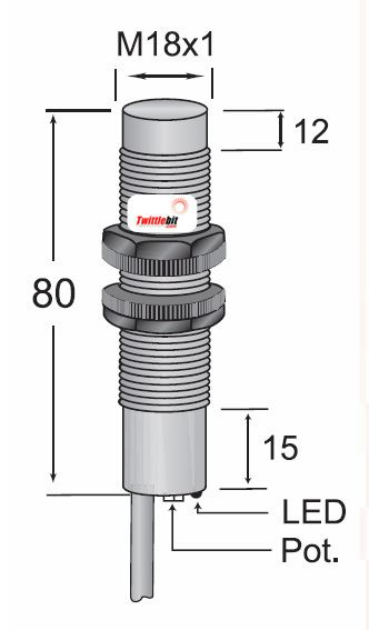 CCP2-1815N-A3U2, Pre-wired, Unshielded DC 3 ~ 4 wire NPN M18 Capacitive Proximity Sensors