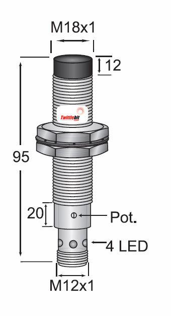 CCP2-1815N-ARU4, Quick Disconnect, Unshielded DC 3 ~ 4 wire NPN M18 Capacitive Proximity Sensors