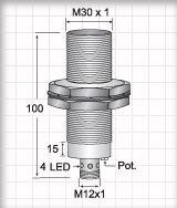 CCM13020PARU4, Quick Disconnect, Shielded DC 3 ~ 4 wire PNP M30 Capacitive Proximity Sensors