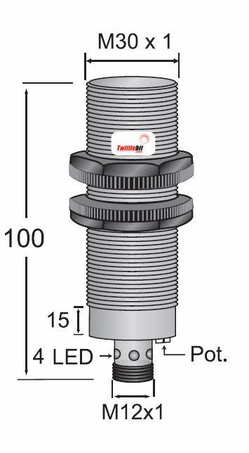CCP13020PBRU4, Quick Disconnect, Shielded DC 3 ~ 4 wire PNP M30 Capacitive Proximity Sensors