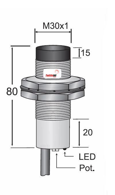 CCM2-3030P-A3U2, Pre-wired, Unshielded DC 3 ~ 4 wire PNP M30 Capacitive Proximity Sensors