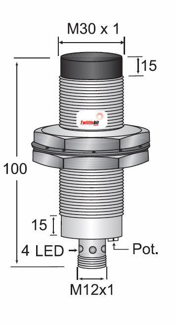 CCM23030PBRU4, Quick Disconnect, Unshielded DC 3 ~ 4 wire PNP M30 Capacitive Proximity Sensors