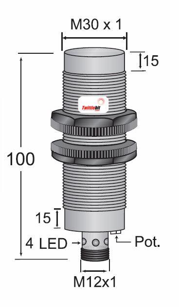 CCP23030PARU4, Quick Disconnect, Unshielded DC 3 ~ 4 wire PNP M30 Capacitive Proximity Sensors