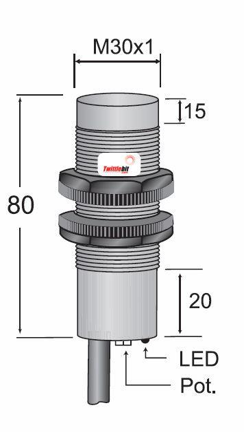 CCP23030NB3U2, Pre-wired, Unshielded DC 3 ~ 4 wire NPN M30 Capacitive Proximity Sensors