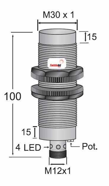 CCP23030NSRU4, Quick Disconnect, Unshielded DC 3 ~ 4 wire NPN M30 Capacitive Proximity Sensors