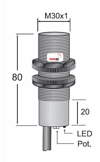 CCP13020AB2L2, Prewired, Shielded AC 2 wire M30 Capacitive Proximity Sensors