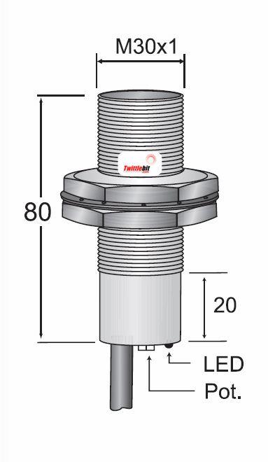 CCM13020AB3L2, Prewired, Shielded AC 2 wire M30 Capacitive Proximity Sensors
