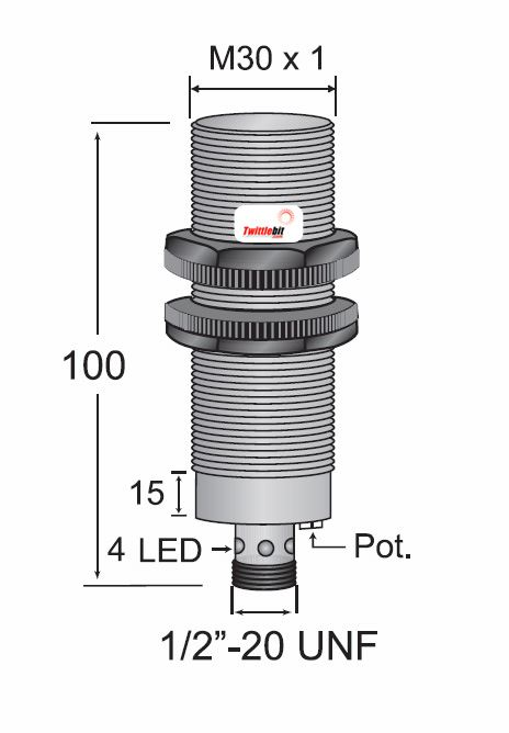 CCP13020ABUL3, Quick Disconnect, Shielded AC 2 wire M30 Capacitive Proximity Sensors