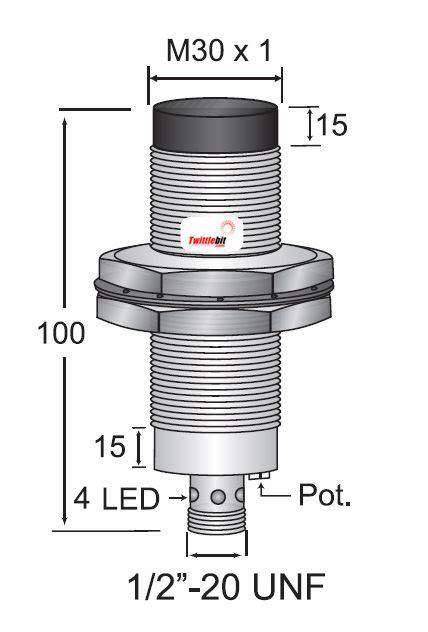 CCM23030ABUL3, Quick Disconnect, Unshielded AC 2 wire M30 Capacitive Proximity Sensors