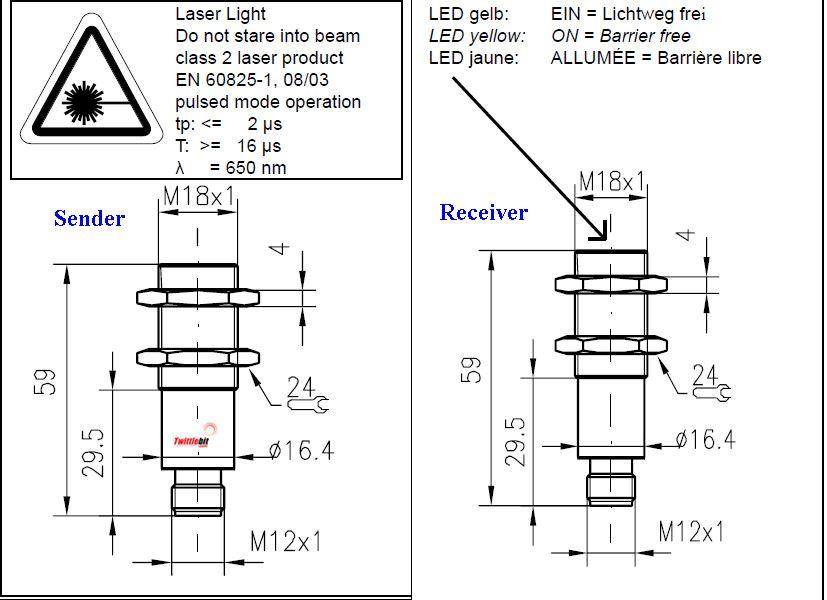 FS18RLL4FE18RLNSL4, M18 Thru-beam Laser Sensors
