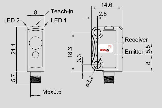 FSFE10RLNSK4, F10 Miniature Thru-beam Laser Sensor