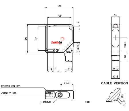 LC100TL6000APPN, LC-100 Thru-beam Compact Laser Sensors
