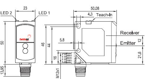 FR55RLNSL4, F55 Compact Retro-reflective Laser Sensors