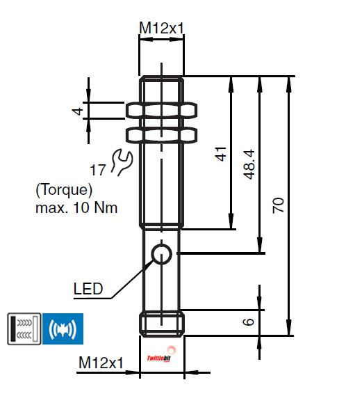 UT12370PSL4, M12 Ultrasonic Sensors