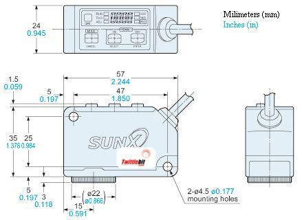 LX101P, 1x5mm Rectangle Light Spot Color Sensors, PNP, NPN & RS485 Serial