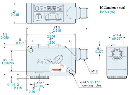 LX101PZ, 1x5mm Rectangle Light Spot Color Sensors, PNP, NPN & RS485 Serial