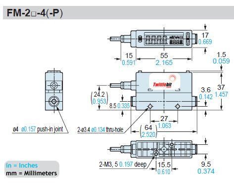 FM2534P, Up to 1.32gal/min (5l/min) Flow Rate Type Sensors