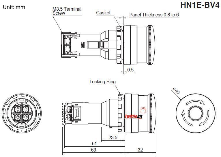 Idec HN1EBV402R, 30mm E-stop