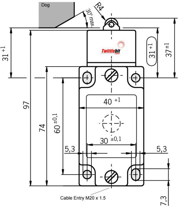 NZ1RK538M, NZ1RK Safety Limit Switch with 8mmø Steel Roller Plunger