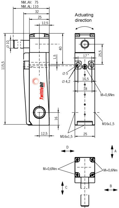 NM02AVM, NM Safety Limit Switch with Hinged Actuator