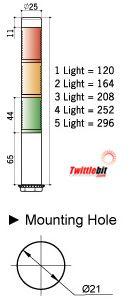 PLDSF302RYG, 24VAC/DC 25mmø Super Slim LED Modular PLD Series Steady or Flashing Tower Lights
