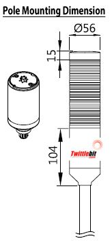 PTEAF102BB, 24VAC/DC 56mmø LED Modular Pole Mount PTE-A Series Steady or Flashing Tower Lights