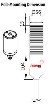 PTE-AF-202-RG-BP, 24VAC/DC 56mmø LED Modular Pole Mount PTE-A Series Steady or Flashing Tower Lights